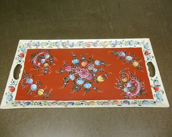 Hand Painted Metal Serving Tray - Vintage Floral Themed Tea Tray Platter Original Artwork