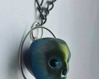 Skull necklace, Day of the Dead, goth jewellery