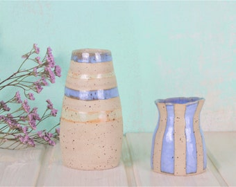 Vase Mint light blue-light blue and mint striped-light blue vase-ceramic vase mint-eggshell clay-production on order