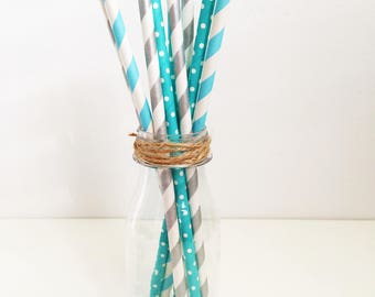 10 blue and silver paper party straws, pink and silver, purple and silver, black and silver, gender reveal, 1st birthday, baby shower