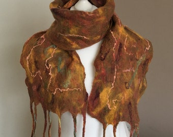 Sale   Wool Felted Scarf  Wet Felted Scarf