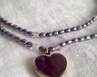 Fresh Water Pearls With Silver Amethyst Pendant