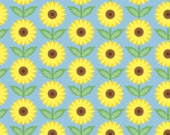 Sunflower Fabric By the Yard, Art Deco.