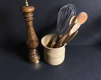 vintage utensil crock, utensil jar, kitchen spoon jar, hand thrown pottery, utensil holder