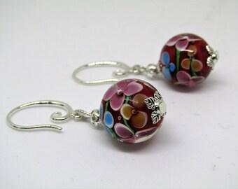 Sterling silver Japanese Lampwork Earrings in Red, Japanese Earrings, Lampwork Earrings, Turquoise Earrings, Unique Earrings, Earrings