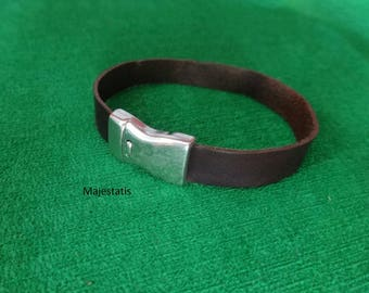 leather bracelet with magnetic silver plated magnetic clasp, custom leather bracelet magnet clasp custom women's leather wristband