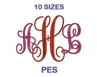 Interlocking Monogram Embroidery Font - 10 Sizes - PES Format Embroidery Alphabet - Embroidery Letters - Machine Embroidery Designs Patterns