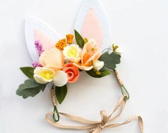 Bunny Ears Easter Headband. Felt Flower Crown. Spring Headband for Girls