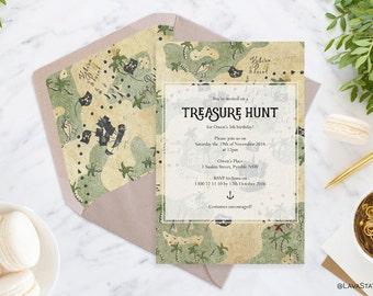 Owen Suite : Printable Kids Birthday Invitation, Pirates, Map, Treasure Hunt, Green, Custom, Digital Download, 5x7, Download