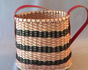 Handwoven basket tote - Chocolate Cherry Mousse Tote