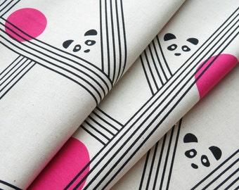 1/2 yard Kokka Parallels by Ellen Baker Cotton Linen Blend   Pandas   42800-800-A Pink