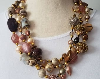 Bronze and gold statement necklace