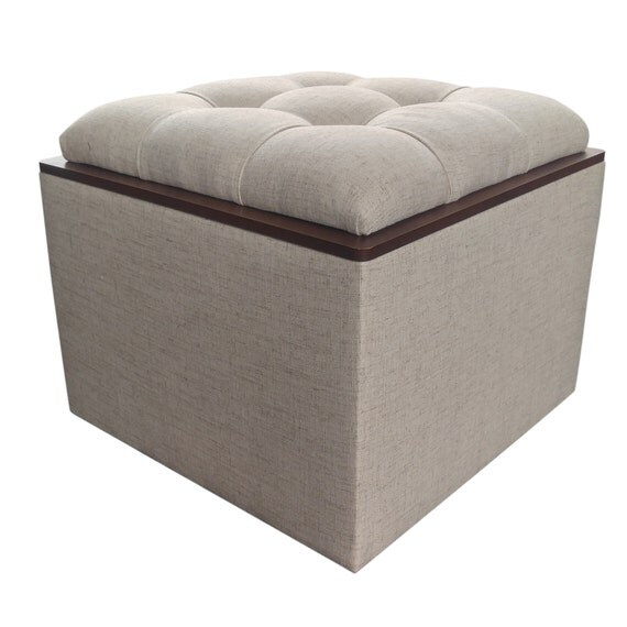 tufted storage ottoman with tray natural by design59furniture