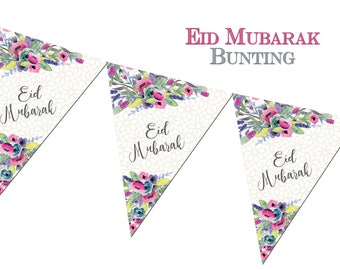 Eid Mubarak Bunting Water Colours - Eid Decorations Banners