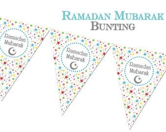 Ramadan Mubarak Stars Bunting - Ramadhan Decorations, Decor, Banner