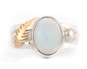 Opal Solid Australian Two Tone Leafy Sterling Silver With 9ct Yellow Gold Unique Handmade Ring