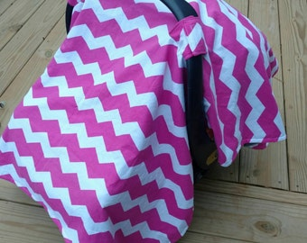 Pink chevron Carseat canopy- carseat cover, minky canopy baby girl, pink and grey, baby shower gift, baby accessories, modern baby, girl