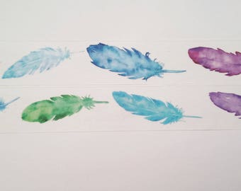 Design Washi tape feathers watercolor