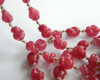 """LONG rasberry Glass beads necklace ~ flapper 48"""" ~ a2724"""
