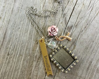Cancer awareness rose frame necklace
