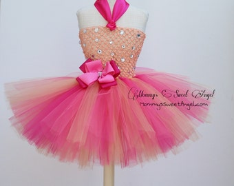 peach and coral tutu. Princess tutu dress. Ballerina tutu dress. First birthday tutu.