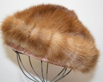 Vintage little mink hat; Lora designs; mink beret