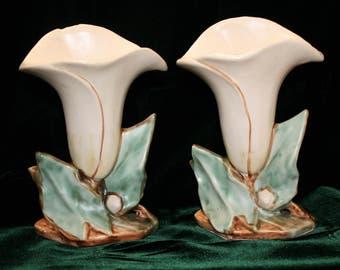 Vintage McCoy Calla Lily vases; pair of vases; wedding; bridal shower; centerpiece
