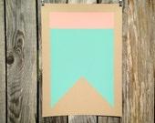 Nautical Signal Flag / Silkscreen Print                            A-Alpha Swallowtail (Coral, Turquoise)