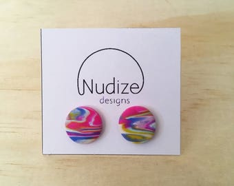 "Handmade statement stud earrings // gifts for her // ""Spectrum"""