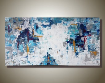 Large Abstract Wall Painting Original Textured Painting Palette Knife Blue and White Art Acrylic Art on Canvas Contemporary Art Office Decor