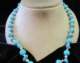 Vintage Blue Glass Beaded/Stone Necklace