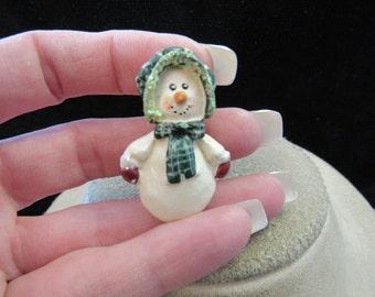 Vintage Christmas Mrs Snowman Pin