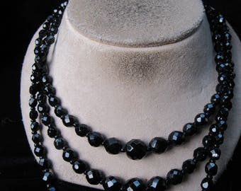 Vintage Chunky Triple Stranded Graduated Black Glass Beaded Necklace