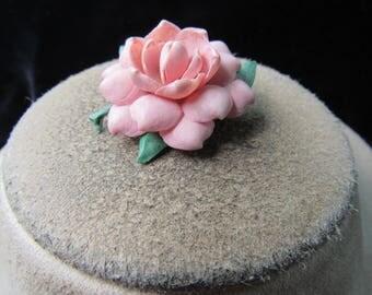 Vintage Hand Made Pink Rose Pin