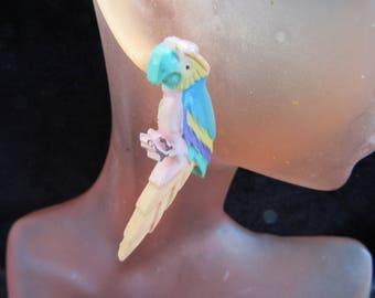 Vintage Pair Of Long Multi Colored Parrot Pierced Dangle Earrings