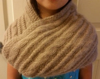 hand-knitted long hair Angora Goats cashmere infinity scarf(super soft and warm-beige)