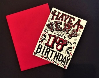 red black and white hand lettered customized birthday year card