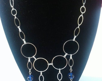 Chainmaille statement necklace, bibb, silver loops, oval loops, cobalt blue glass beads, chain links, women gift, mothers day idea, easter