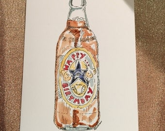 Newcastle Brown Ale inspired handmade hand drawn and painted Birthday Card