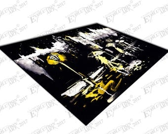 Print on Canvas Walking in the rain with Umbrellas Yellow X1529