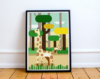 Giraffe Print! minimalist, playroom, nursery, children's bedroom, wildlife, nature, world, jungle, exploration