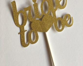 Gold Glitter Cupcake Toppers - Bride to be - Hen Party - Bachelorette Night Decorations - Bridal Shower - Miss to Mrs - Engagement Party