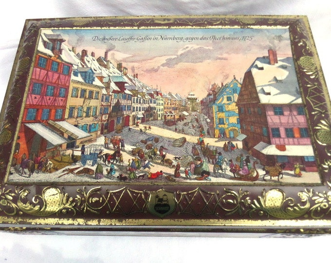 "Large German Biscuit Tin by E Otto Schmidt Nurnberg, 16"" x 12"", Georgian Snowy Town Scenes,  Christmas Gifts, Festive Food Storage or Decor"