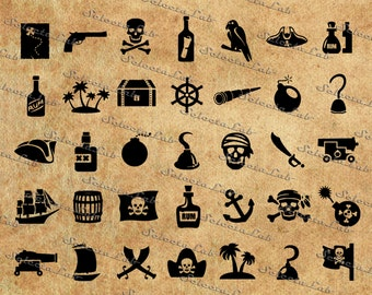 Digital SVG PNG pirates, skull, jolly roger, carribean, skulls and bones, ship, flag, clipart, vector, silhouette, instant download