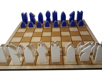 Coloured laser cut acrylic chess chess pieces