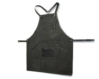 SALE 10! Dark grey waxed canvas and leather apron / Work apron / Mens apron / Christmas gift / Barber's  apron / Mens gift / Gift for him