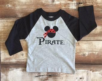 Disney Pirate Mickey Raglan Shirt!