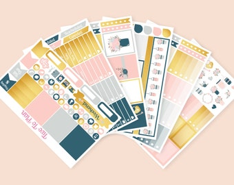 Love Is Golden Full Weekly Kit! Great for No White Space Planning! Pink, Navy and Gold Planner Stickers Great for the Vertical ECLP
