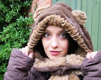 Bear hooded infinity scarf. hood scarf, snood, brown bear luxury faux fur, infinity scarves. Spirit hood