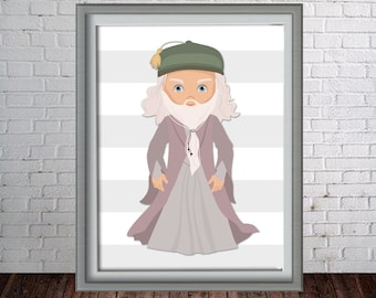Printable Dumbledore- Harry Potter Wall Art Print - 16x20, 8x10 and 11x14 Dumbledore - Instant Download - Can Customize